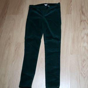 J.Crew Factory Velour Emerald Skinny Jean